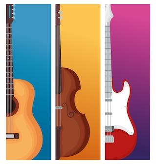 Gitary i ilustracja instrument skrzypcowy