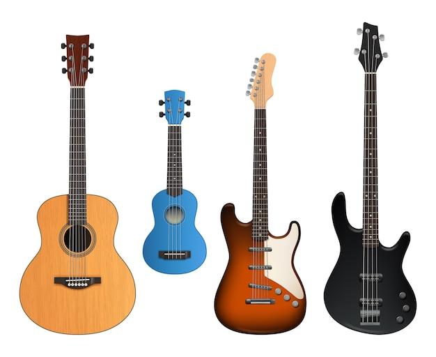 Gitary. realistyczne dźwięki instrumentów muzycznych, które tworzą kolekcję rockowych i akustycznych gitar.