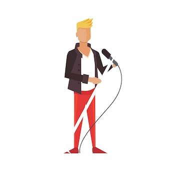 Gitarzysta muzyczny pop lub rock. piosenkarka ilustracja kreskówka chłopiec płaski. odosobniony