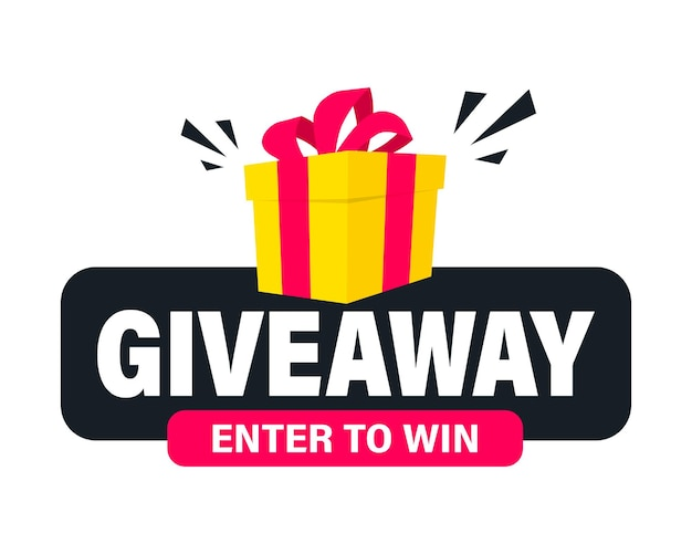 Giveaway, wejdź, aby wygrać. szablon postu w mediach społecznościowych na projekt promocji lub baner strony internetowej. wygraj nagrodę. pudełko prezentowe z nowoczesnym napisem typografii giveaway. pomysł na prezent dla zwycięzców