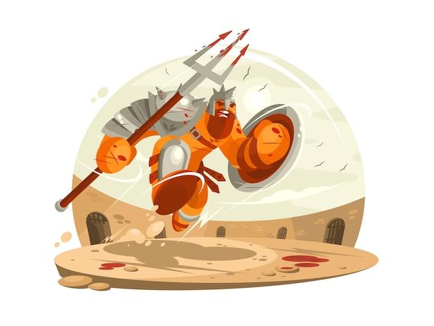 Gladiator w zbroi z tarczą i walka na arenie