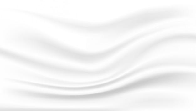 Gładki elegancki biały jedwab lub satyna. błyszcząca tkanina jedwabna, biała