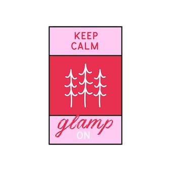 Glamping logo, projekt ilustracja godło obozu przygodowego. etykieta zewnętrzna z drzewem i tekstem - zachowaj spokój glamp. niezwykła naklejka w stylu liniowym w kolorze różowym. wektor zapasowy.