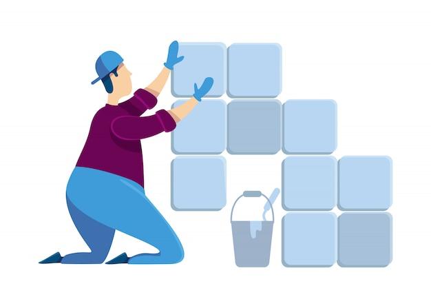 Glazurnik bez twarzy o jednolitym kolorze. mężczyzna instaluje płytki ceramiczne. facet w remoncie domu. profesjonalny handyworker. zaprawa do zaprawy. dom napraw kreskówki odosobniona ilustracja