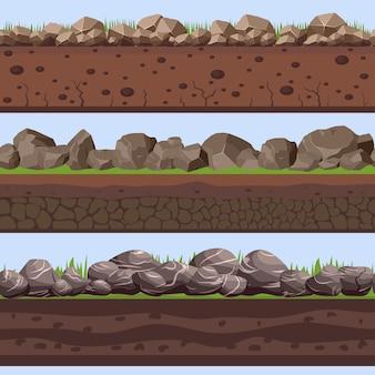 Gleba bezszwowe warstwy z kamieniem rock
