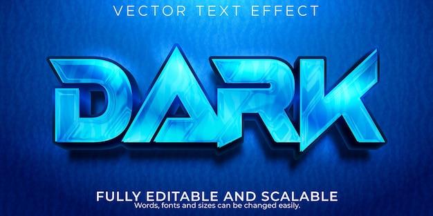 Głęboka ciemna edytowalna przestrzeń efektów tekstowych i niebieski styl tekstu