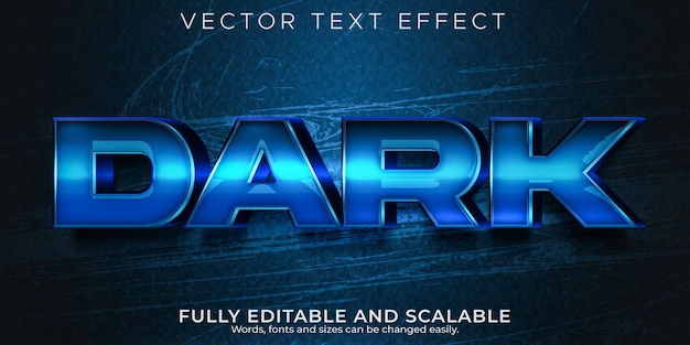 Głęboki ciemny edytowalny efekt tekstowy, spacja i niebieski styl tekstu