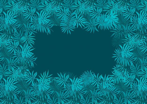 Głębokie szmaragdowo zielone ramki paproci tropikalnych liści