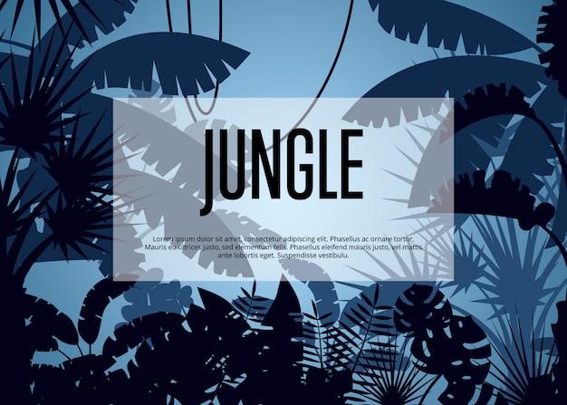 Głębokie tropikalny szablon tło dżungli