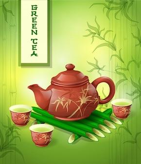Gliniany czajniczek i trzy filiżanki