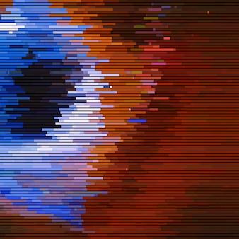 Glitch abstrakcyjne tło z efektem zniekształcenia losowe poziome linie w kolorze pomarańczowym i niebieskim