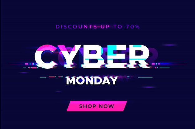 Glitch cyber poniedziałek koncepcja