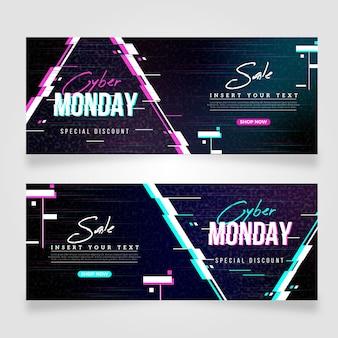 Glitch cyber poniedziałek zestaw bannerów
