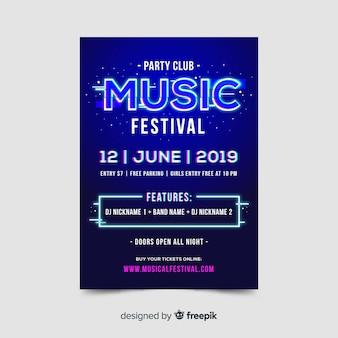 Glitch festiwal muzyczny plakat szablon