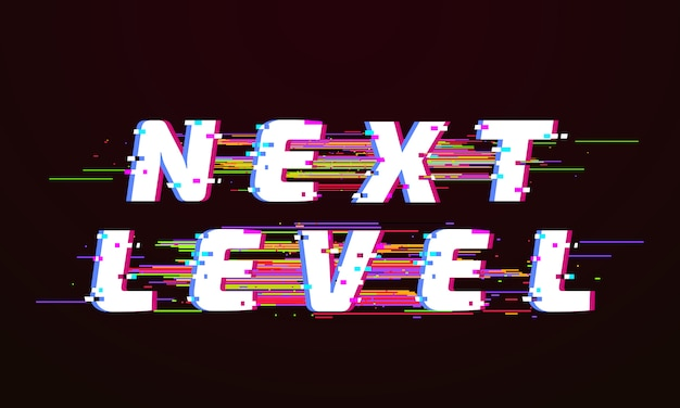 Glitch font. następny poziom zniekształconej telewizji zepsutej ilustracji na ekranie skryptu