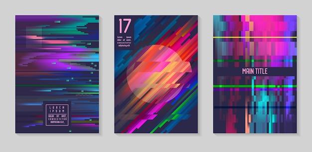 Glitch futurystyczne plakaty, zestaw okładek. hipsterskie kompozycje projektowe na broszury, ulotki, afisze. modny szablon. ilustracja wektorowa
