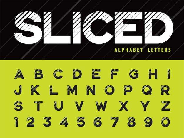 Glitch modern alphabet litery i cyfry