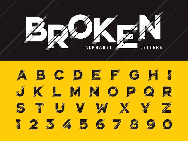 Glitch nowoczesne litery alfabetu