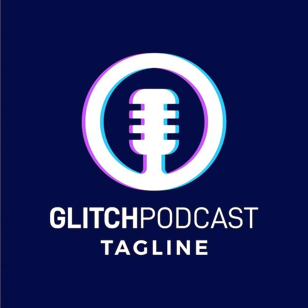 Glitch podcast proste nowoczesne logo