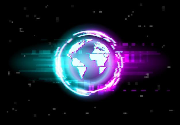 Glitch, tło mapy świata, cyfrowe piksele szumu na telewizorze
