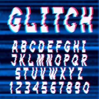 Glitch zniekształcone litery i cyfry czcionki