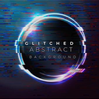 Glitched baner, szablon projektu plakatu w stylu futuryzmu, hałas z telewizora na jasnym kole w powietrzu