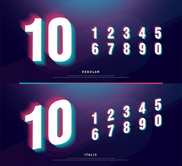Glitched numery alfabet czcionki. nagłówek numeru