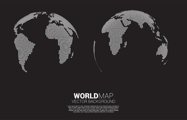Glob 3d mapa świata z kwadratowych pikseli.