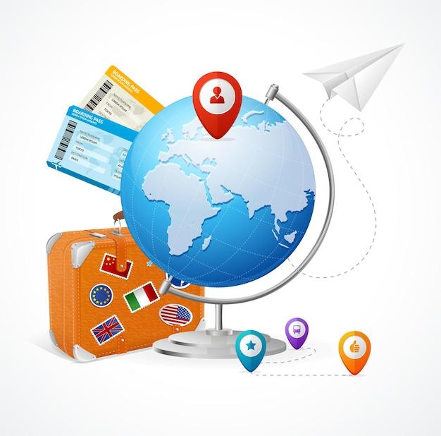 Glob koncepcja podróży. łatwe loty dookoła świata.