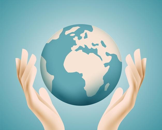 Glob planeta ziemia w ludzkich rękach globalne środowisko lub koncepcja ekologii lub wsparcia