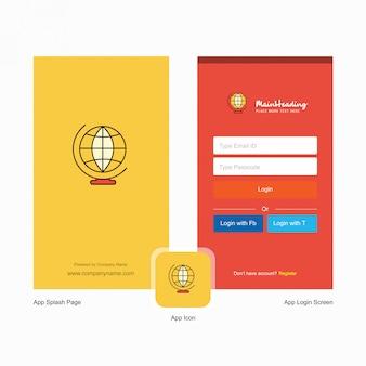 Glob świat firmowy ekran powitalny i strona logowania z szablonem logo. szablon mobilnego biznesu online
