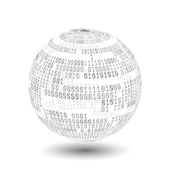 Glob z kodem binarnym. piłka kodu binarnego. technologia cyfrowa. sortowanie danych. sztuczna inteligencja, duże dane, inteligentny system.