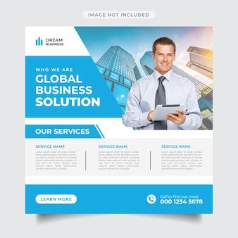 Global business solution post na instagramie i baner promocyjny w mediach społecznościowych