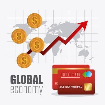 Globalna gospodarka, pieniądze i projektowanie biznesowe.