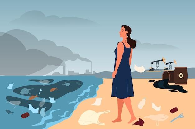 Globalna ilustracja problemu ekologii. zanieczyszczenie środowiska, katastrofa ekologiczna, ziemia w niebezpieczeństwie. przemysłowe zanieczyszczenie powietrza i wody. ilustracja