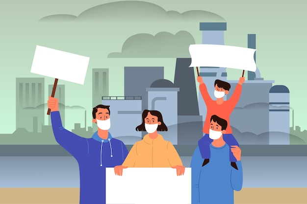 Globalna ilustracja problemu ekologii. zanieczyszczenie środowiska, katastrofa ekologiczna, ziemia w niebezpieczeństwie. przemysłowe zanieczyszczenie powietrza i wody. wektor