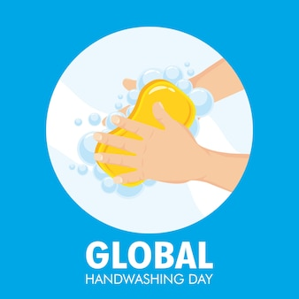 Globalna kampania dnia mycia rąk z kostką mydła w okrągłej ramie.