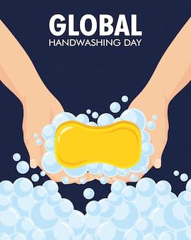 Globalna kampania dnia mycia rąk z napisami i kostką mydła.