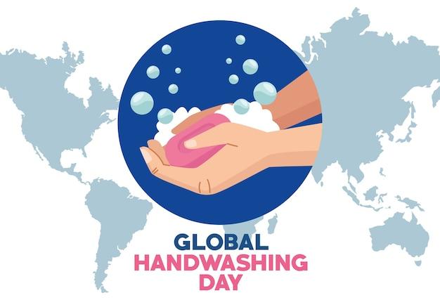 Globalna kampania dnia mycia rąk z rękami i kostką mydła na planecie ziemia