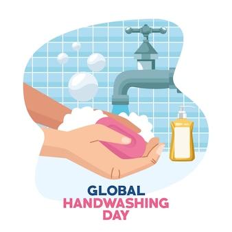 Globalna kampania dnia mycia rąk z użyciem mydła w kostce i kranu z wodą