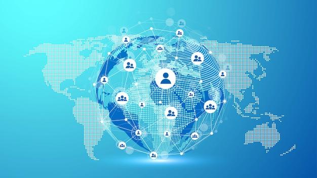Globalna koncepcja połączenia sieciowego. wizualizacja dużych danych. komunikacja w sieciach społecznościowych w globalnych sieciach komputerowych. technologia internetowa. biznes. nauka.