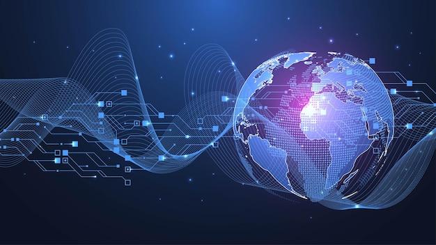 Globalna koncepcja połączenia sieciowego wizualizacja dużych zbiorów danych sieć społecznościowa