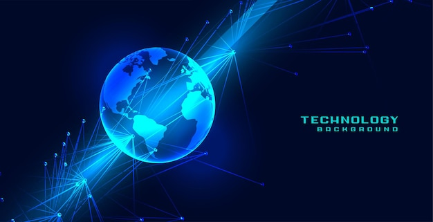 Globalna koncepcja ziemi technologii z liniami sieciowymi