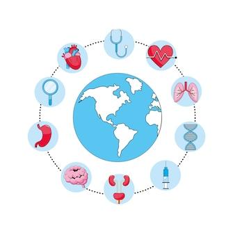 Globalna planeta z stetoskopem i strzykawką
