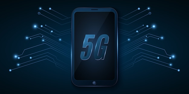 Globalna sieć 5g. zaawansowany projekt. nowoczesny smartfon z szybkim internetem. neonowa płytka drukowana komputera.