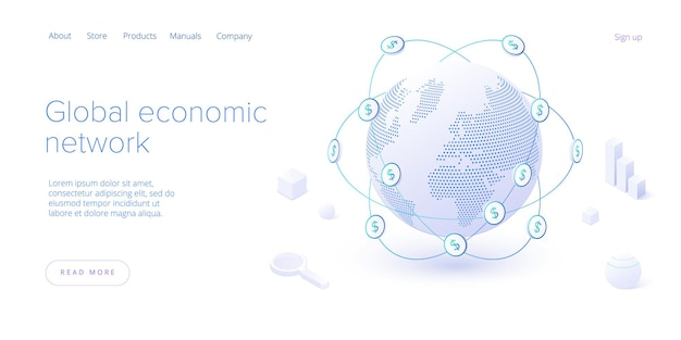 Globalna sieć gospodarcza na izometrycznej stronie docelowej. gospodarka światowa lub koncepcja globalnej mapy finansowej. międzynarodowy biznes. szablon układu banera internetowego.