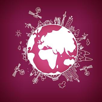 Globalna sieć informacyjna na świecie, satelity, anteny, anteny satelitarne, repeatery, ilustracja wektorowa