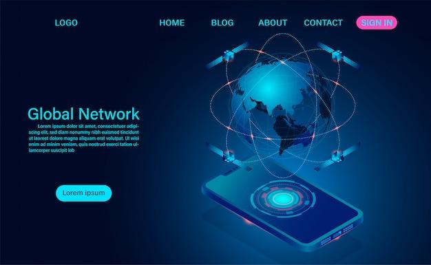 Globalna sieć łączy się z urządzeniami bezprzewodowymi. retransmisja sygnału przez satelity krążące w kosmosie