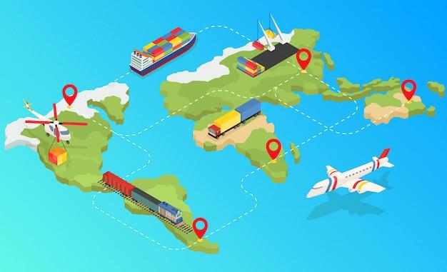 Globalna sieć logistyczna 3d izometryczny ilustracja zestaw transportu ładunków lotniczych, transport kolejowy transport morski. dostawa za każdym razem pojazdy zaprojektowane do przewozu dużych ilości ładunków