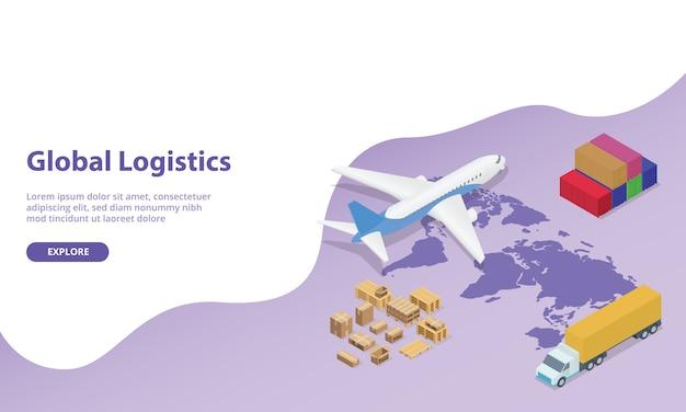 Globalna sieć logistyczna z mapą świata i samolotem transportowym oraz kontenerem ciężarówki w nowoczesnym stylu izometrycznym dla strony internetowej.